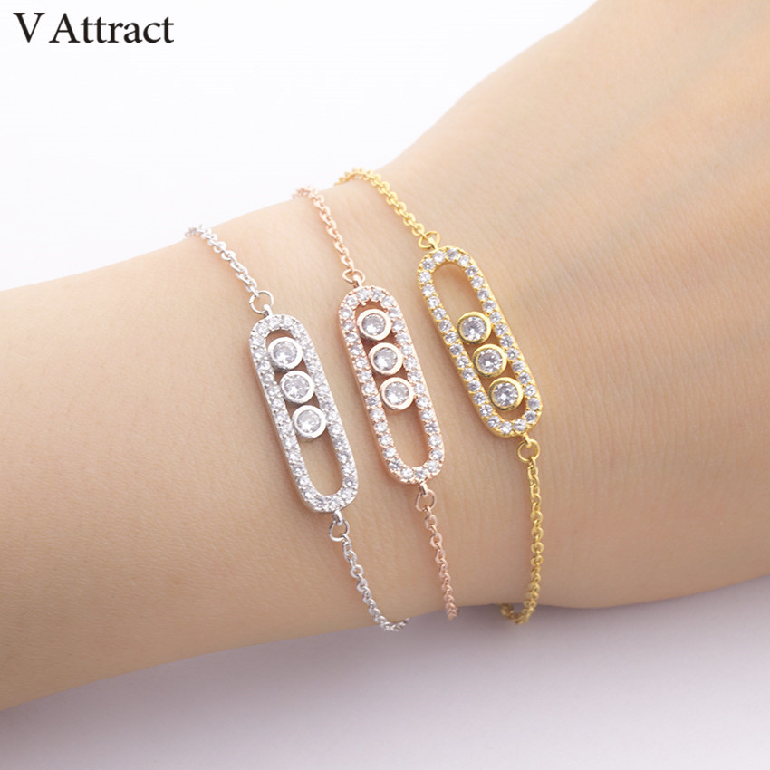 V Attract Punk Jewelry Acero inoxidable Ketting Pulseras Vintage Rose Gold CZ Zircon Geometric Bar Pulsera y brazalete para mujeres