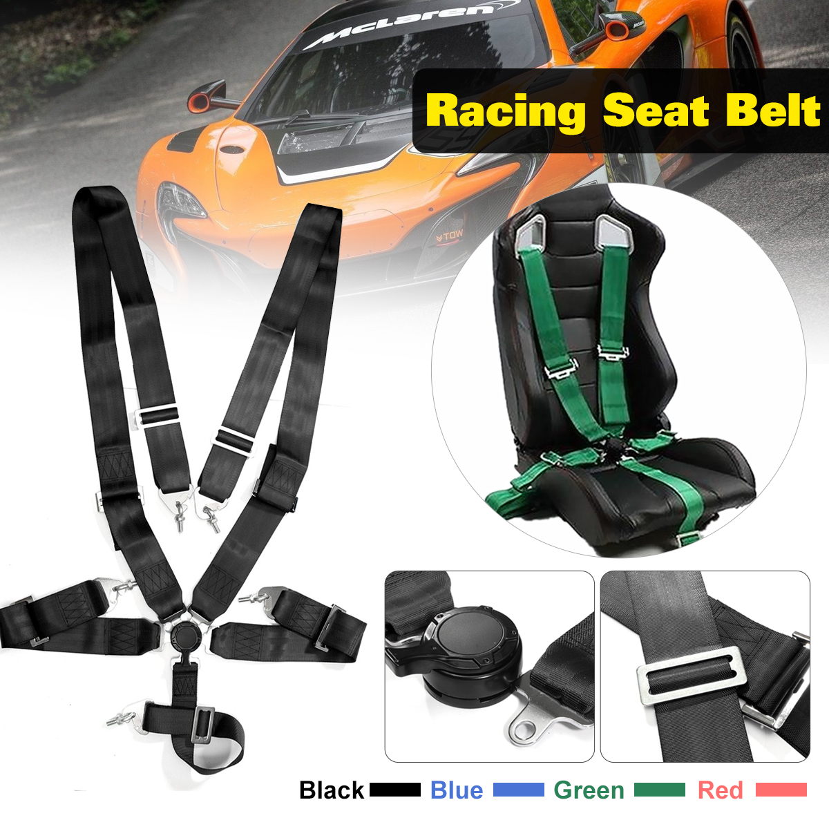 5 Point Cam Lock Racing Car Seat Belt Race Safety Adjustable Strap Nylon Harness Universal Vehicle Racing Safety Seat Belt