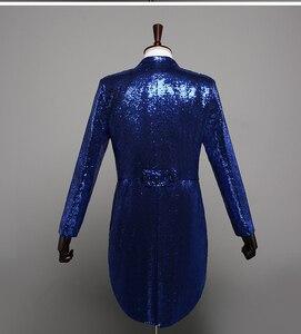 Image 3 - PYJTRL Mens แฟชั่นแชมเปญ Gold Silver Red Blue Black Sequins Tuxedo Swallowtail นักร้อง Paillette แจ็คเก็ตเครื่องแต่งกาย