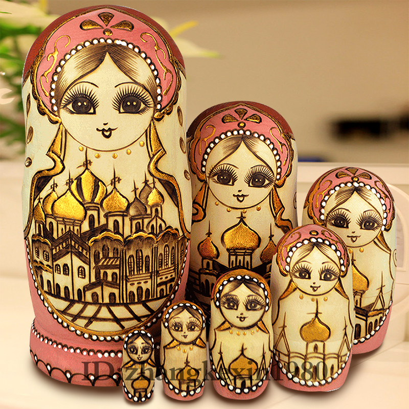 7Pcs/Set Wooden Russian Dolls Nesting Dolls Maiden Wishing Doll Beautiful Handmade Matryoshka Doll Kids l37 Toy Gifts Collection happy dollhouse family dolls small wooden toy set figures dressed characters children kids playing doll gift kids pretend toys