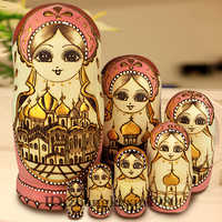 7Pcs/Set Wooden Russian Dolls Nesting Dolls Maiden Wishing Doll Beautiful Handmade Matryoshka Doll Kids l37 Toy Gifts Collection