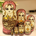 7Pcs/Set Wooden Russian Dolls Nesting Dolls Maiden Wishing Doll Beautiful Handmade Matryoshka Doll Kids l37 Toy Gifts Collection