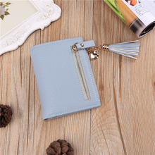 Women Wallet and Purse Short Pu Leather Modern Ladies Cute Tassel Coin Card Holder Slim Small