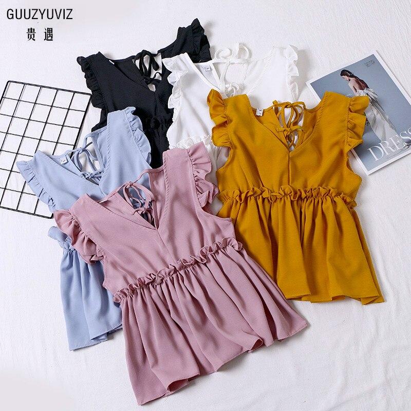 GUUZYUVIZ Solid   Tops   Mujer Verano 2019 Casual Ruffles V-neck Bandage Sleeveless   Tank     Top   Women White Camiseta Tirantes Mujer