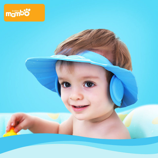 3cb552f2ca6 Baby Shower Caps Wash Hair Shampoo Cap Kids Bath Visor Hats Adjustable Shield  Waterproof Ear Protection