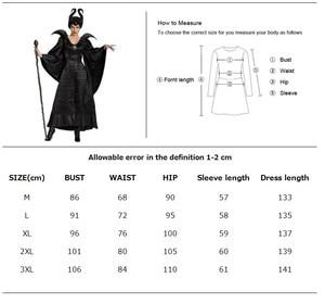 Image 2 - ديلوكس S 3XL هالوين فيلم النوم الجمال الساحرة Maleficent زي للنساء الكبار الشر الساحرة فستان القرن قبعة الزي