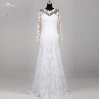 RSW1186 Yiaibridal Real Job Pictures Floow Length No Train Beach Wedding Dress Lace Long Sleeves