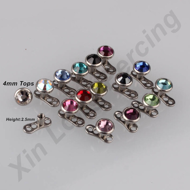 Mixeds 17 Colors Gem 316l Stainless Steel Dermal Anchor Piercing Skin Diver Piercing Micro Dermal Jewelry Body 17pcs Lot