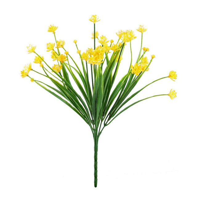 New Artificial Fake Flowers 4pcs Faux Yellow Daffodils Greenery Shrubs Plants Plastic Bushes Indoor Outside