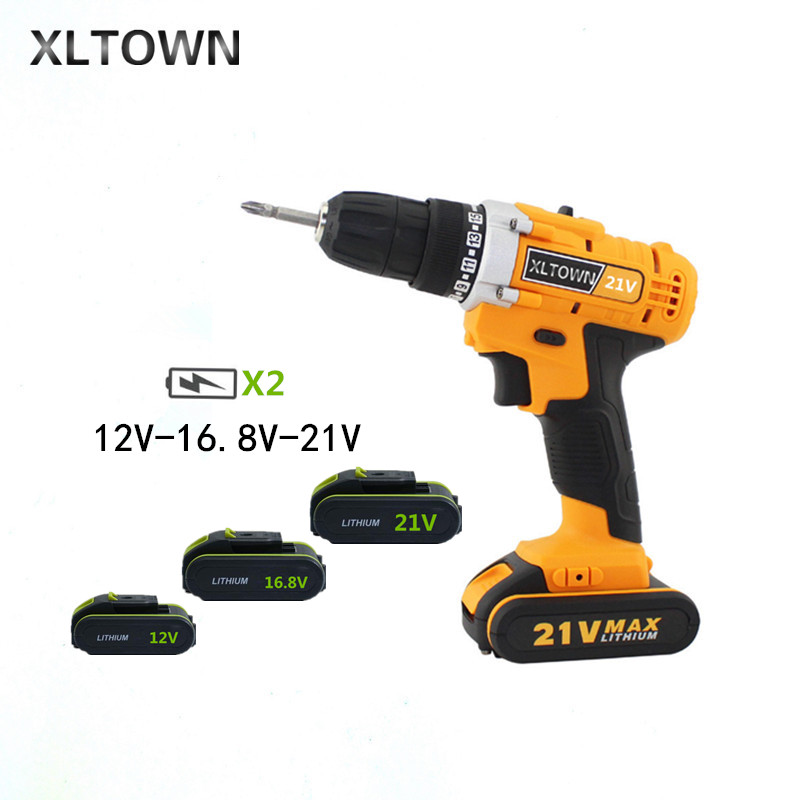 XLTOWN 12/16.8/21V Electric Drill with 2 battery Rechargeable Lithium Battery Multifunction Electric Screwdriver power tools xltown new 21v rechargeable lithium battery electric screwdriver with 2 battery high quality electric drill tools free shipping