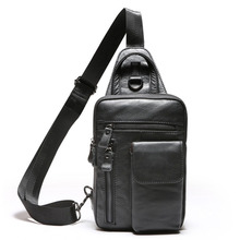 Factory direct Genuine Leather Men's bag New First layer Cowhide Men's chest Casual Messenger Bags Vertical Shoulder Small bag стоимость