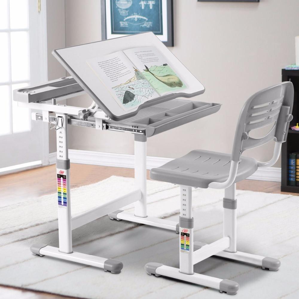 Giantex Height Adjustable Children's Desk Chair Set Multifunctional Study Drawing Gray Modern Children's Furniture Set HW58130GR