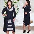 Mujeres de La Manera Imprimir Vestidos de Arco Collar Falso 2 unidades Para femenina primavera patchwork 3/4 sleevel más el tamaño delgado ocasional dress L-6XL