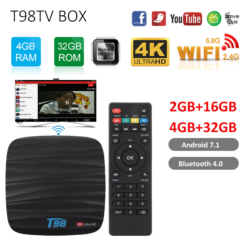 Android 8.1 Smart TV BOX T98 4GB 32GB Allwinner H6 Quad core décodeur Bluetooth avec boîte à distance vocale