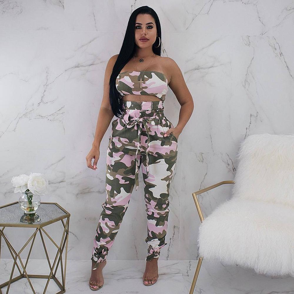 IMDVC High Street Sexy Camouflage Sweat Suit Women Casual Lace Up 2 Piece Outfit