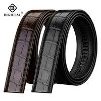 Men Genuine Crocodile Belly Skin Waistband Men's Alligator Leather Belt Automatic BuckleClassic Brand