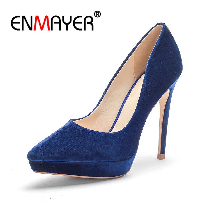Enmayer Woman 12CM Elegant Pumps Office High Heels Concise Working Shoes For Women Pointed Toe High Heels Lady Pumps Shoes CR808 цена
