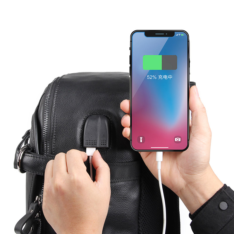 Vache sac à dos en cuir pour ordinateur portable Sac À Dos De Voyage USB Charge Mâle Mode sac D'école 2018A - 5