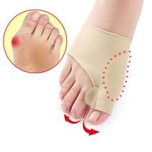 2 pçs = 1 par dedo do pé separador hallux valgus bunion corrector orthotics pés osso polegar ajustador correção pedicure meia alisador