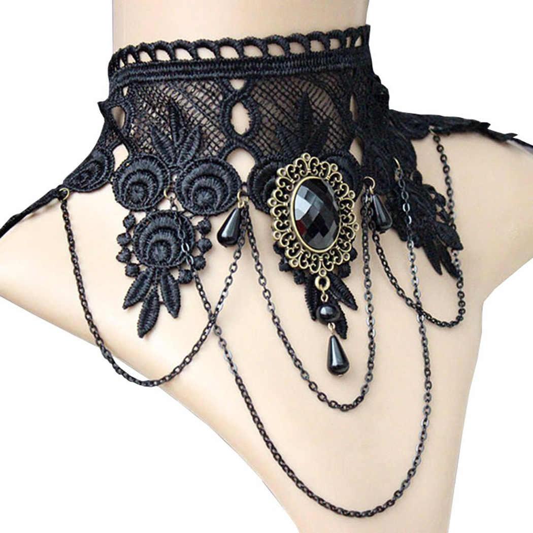 Halloween Gợi Cảm Gothic Chokers Pha Lê Đen Phối Ren Cổ Collares Vòng Cổ Choker Vintage Phụ Nữ Thời Victoria Chocker Phong Cách Khoa Học Viễn Tưởng Trang Sức
