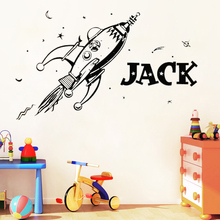 SPACE Retro Rocket Planets Wall Sticker for Kids Bedroom Decoration Art Vinyl Custom Name Personality Decal Mural LW93