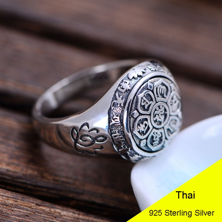 925 Sterling Silver Retro Men Male Ring Thai Silver Fine Jewelry Gift Buddhism Om Mani Padme Hum Finger Ring CH054015