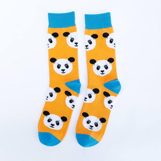 PEONFLY Fashion Print Chinese Panda White Cat Bird Pattern Colorful Happy Socks Men Casual Ventilation Cotton Sock Autumn Winter