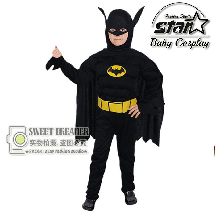 Boys Muscle Batman Costume Superhero Halloween Fantasia Christmas Carnival Anime Cosplay Cothes The Avengers Kids Costume Suit ...