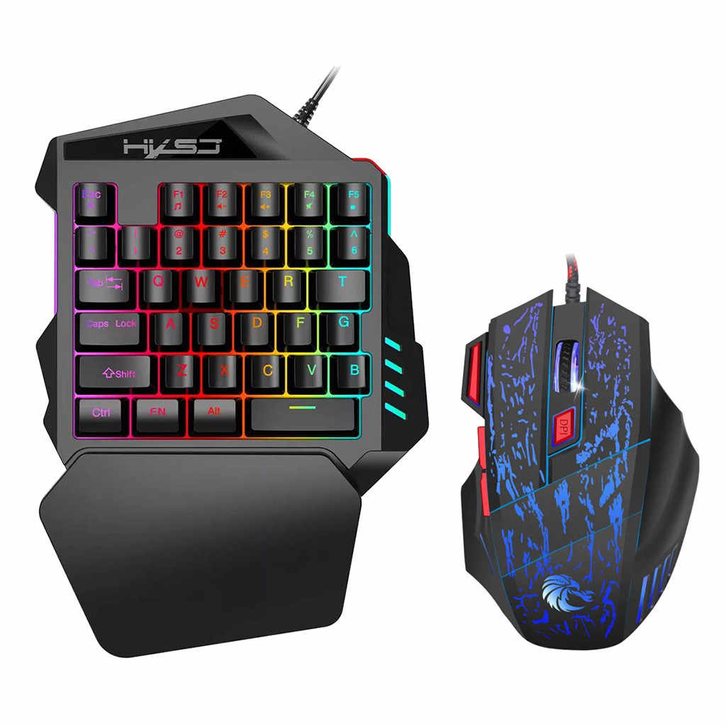 HXSJ J50 Ergonomic Multicolor Backlight One-Handed Game wireless keyboard and mouse gaming keyboard pc gamer
