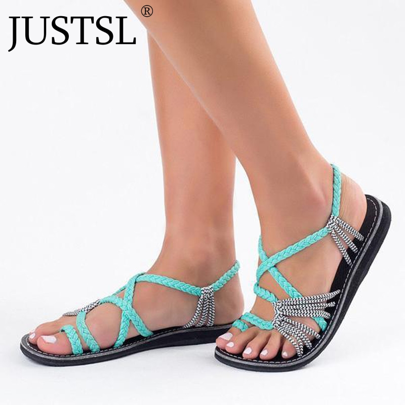 JUSTSL Knot 2018 summer women's Europe beach sandals feminina clip toe flat bottom shoes ladies fashion sandals цена 2017