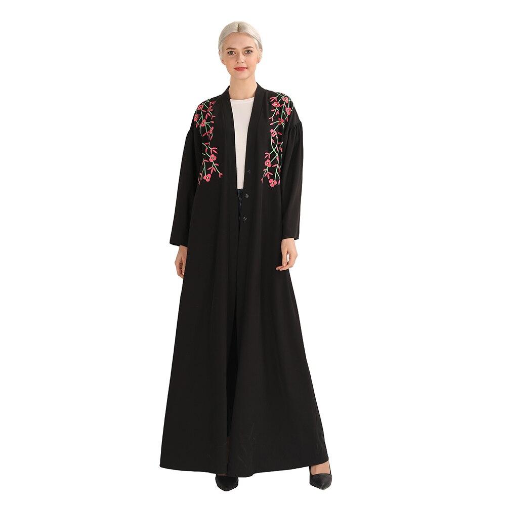 Elegant Muslim Abaya Print Long Robe Gowns Tunic Middle East Ramadan Dubai Islamic Prayer Floral Maxi Dress Cardigan Swing