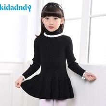 KiDaDndy Children Sweater Girls Cotton Lace Knit Dress Children Clothing Girls Sweater Knitted Pullovers Autumn Winter