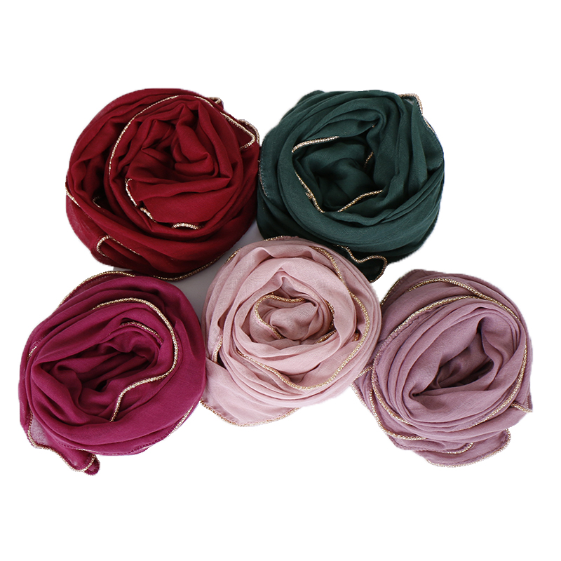 Solid hijab scarf gold beads muslim cotton scarves chain plain wraps shawls maxi fashion headband long