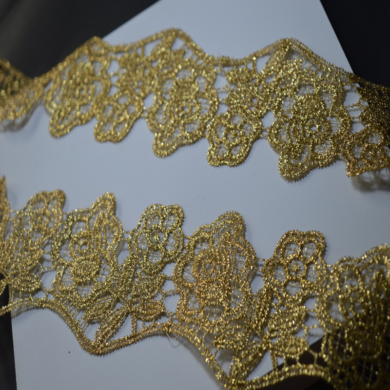 Somelace 7CM 3yds/LOT Wedding Dress Beaded Lace Applique Gold Thread Embroidery Lace Accessories Trim 2018011402