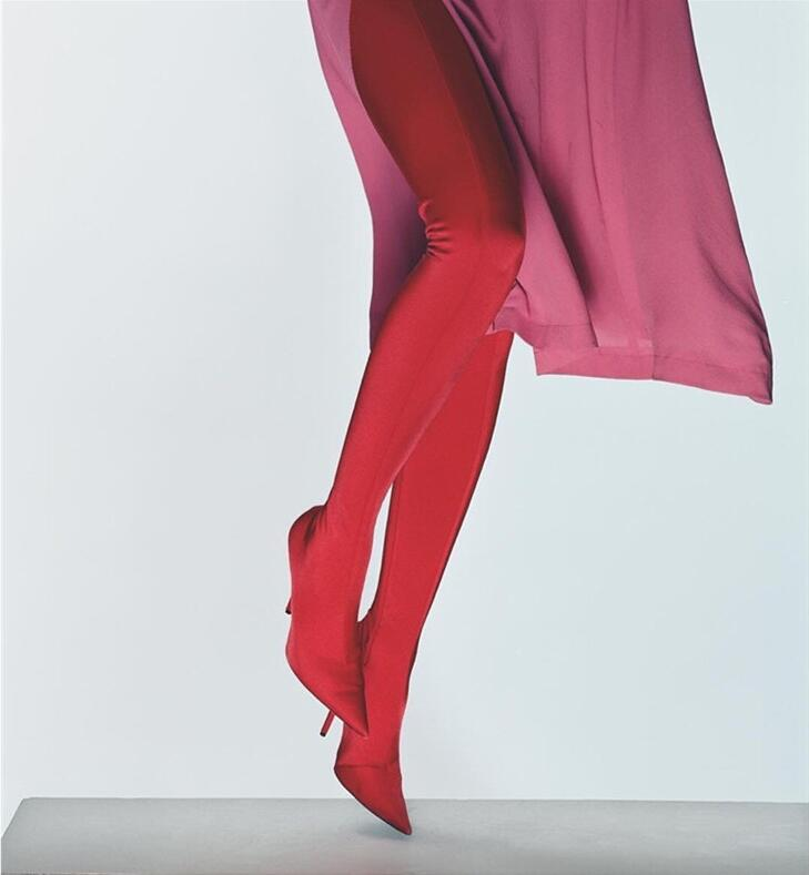 En Long Pointu Chaussette as Cuisse Picture Shows De Talons Femmes Bottes Tissu Shows Bout Hauts Style Satin Pantalon Stretch As Chaussures Haute Propriétaire wpqaStq