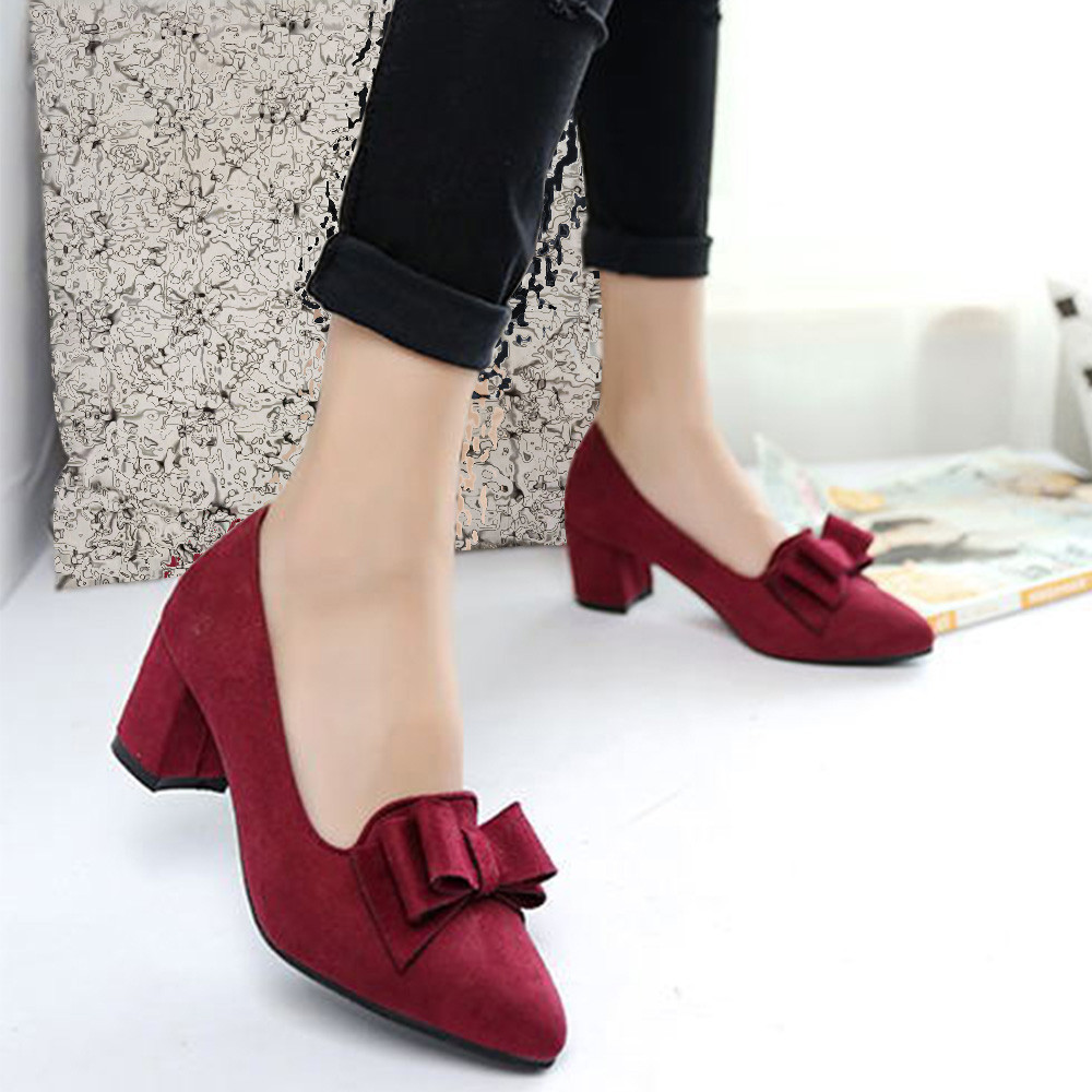 f40caf74266e Women s Bowknot Suede Thick High Heels Casual Pointed Toe Fashion Shoes  zapatillas mujer verano zapatos mujer