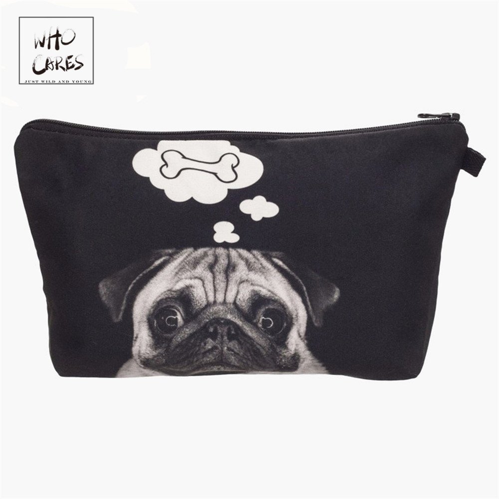 Who Cares Fashion Printing Dog Bone Makeup Bags Cosmetic Organizer Bag Pouchs For Travel Ladies Pouch Women Cosmetic Bag