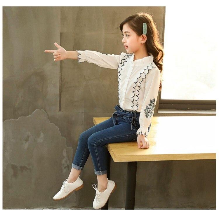 camisa de renda + calças jeans 2 pçs conjuntos