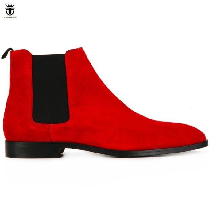 FR.LANCELOT 2018 new gentlemen suede leather boots British style men red color boots slip on wedding shoes male chelsea booties italians gentlemen пиджак