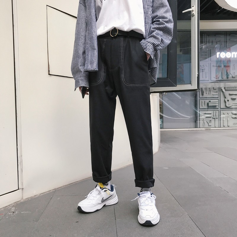 2018 Japanese Style Men's Fashion Loose Brand Pocket Haren Casual Straight Pants Grey/black Color Youth Trousers Plus Size M-XL