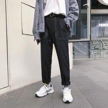 2018 النمط الياباني الرجال الموضة فضفاض ماركة جيب هارين عادية سروال مستقيم رمادي/أسود اللون الشباب بنطلون حجم كبير M XL