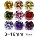 50 шт., 3-16 мм, цветные кубические циркония, круглой формы, 5 А, желтый, розовый, гранат, красный, черный, фиолетовый, оливковый желтый