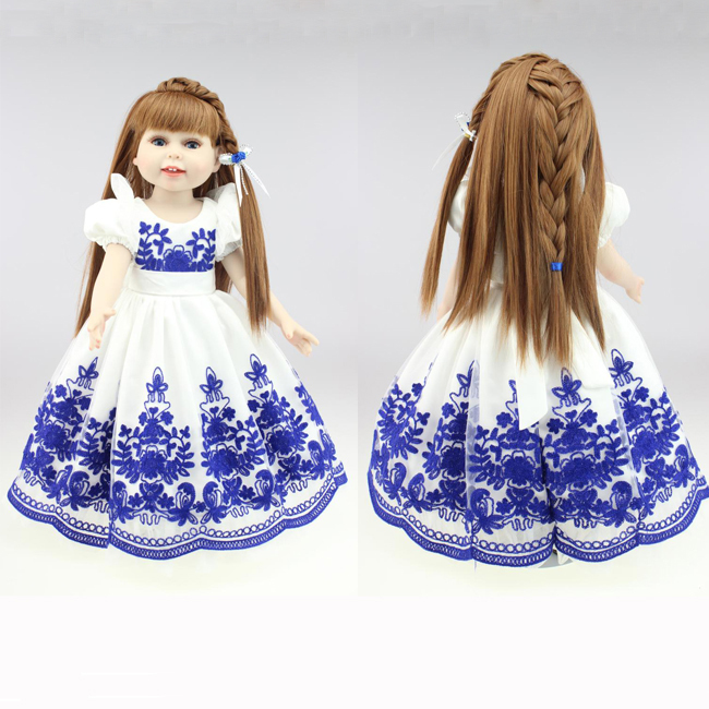 American 18 45cm girl doll with long dress straight hair Reborn Babies dolls lifelike baby doll baby toys for kids [mmmaww] christmas costume clothes for 18 45cm american girl doll santa sets with hat for alexander doll baby girl gift toy
