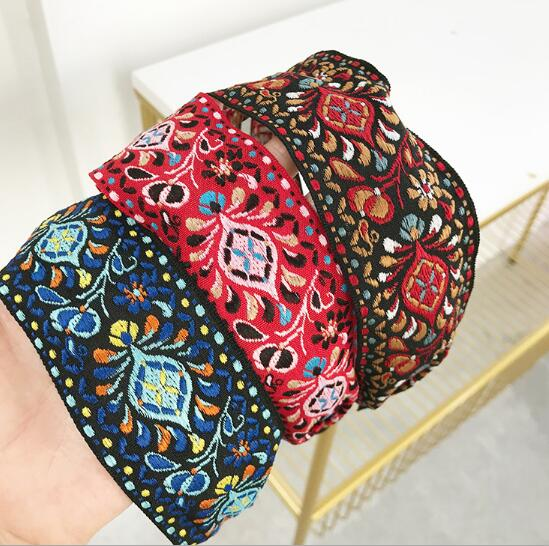 Newest Women Bohemian Women Ethnic Embroidered Ribbon Hairbands Headband Hair Accessories Beautiful Ethnic Pattern Wide Turban