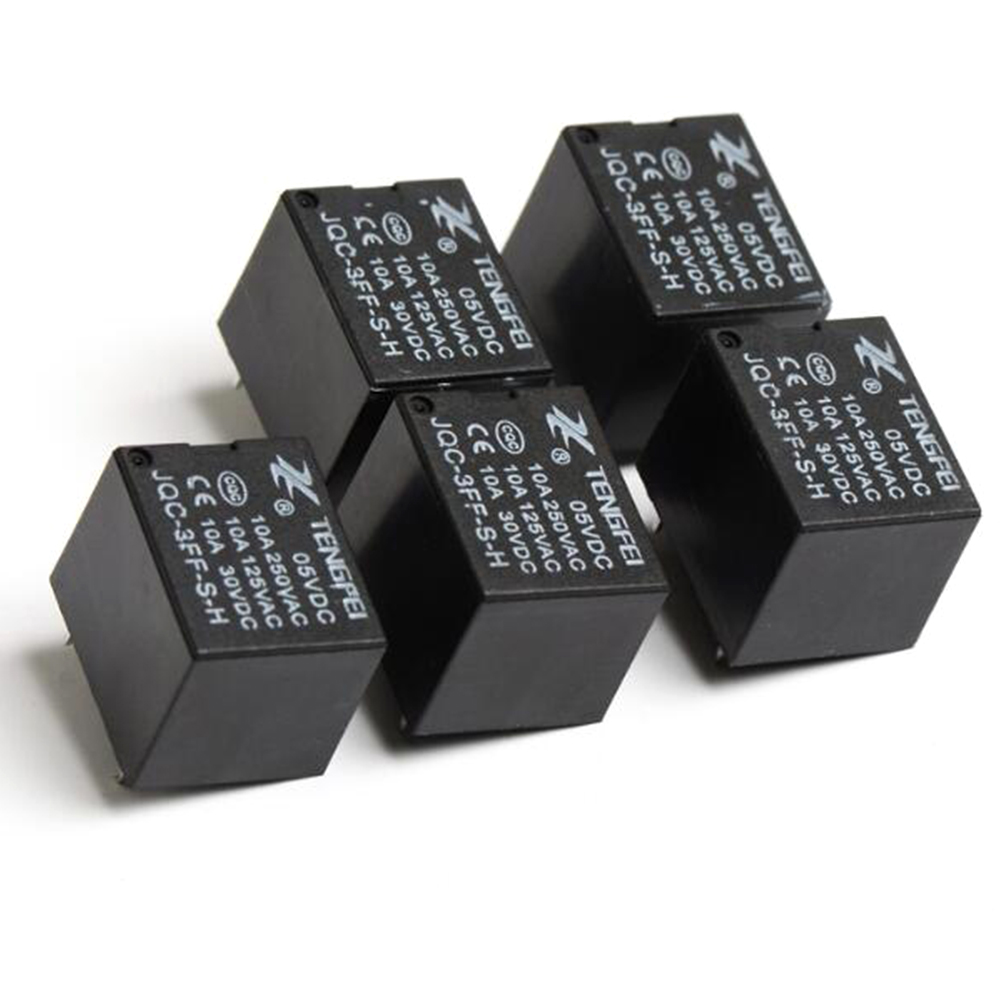 5pcs T73 Small Normally Open Black Electromagnetic Relay
