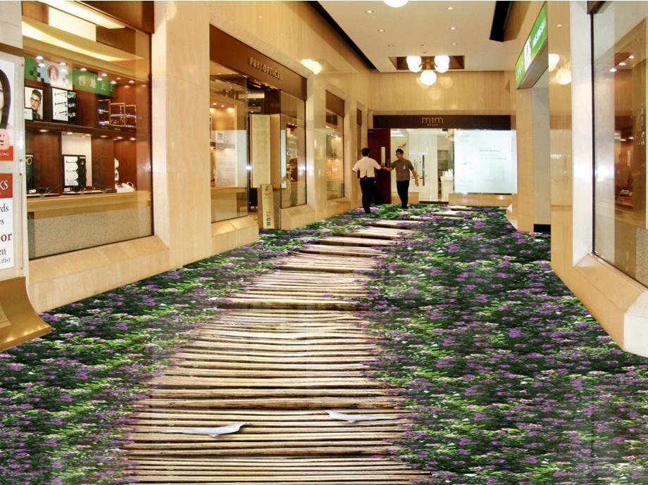 ФОТО 3d floor Flowers customize 3d stereoscopic floor murals wear waterproof self-adhesive pvc decoration floor