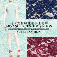 Quality Handmade 130cm Wide Light Green Beading Floral Embroideried Eyelash Lace Dress Cheongsam Fabric S137