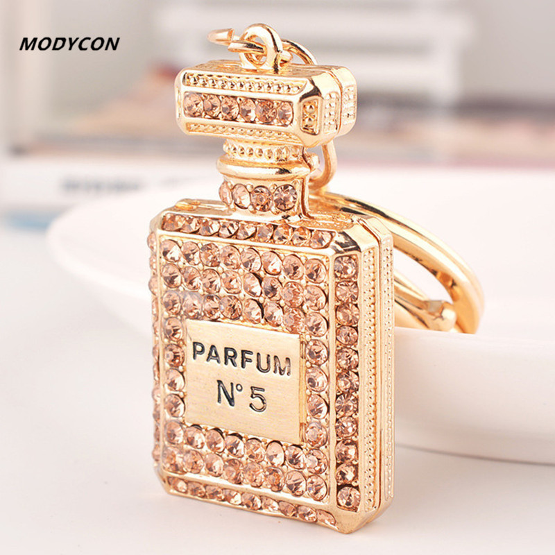 High Quality Fashion Car Keychain Bag Charm Rhinestone Metal Keyring Key Holder Creative Perfume Bottle Key Chain Ring