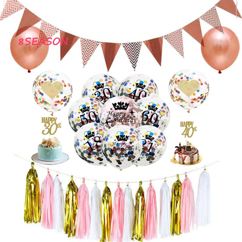 8SEASON Confetti Balloons 18 21 30 40 <font><b>50</b></font> <font><b>Anniversary</b></font> Wedding Decoration 12 Inch Latex Clear Birthday Balloons Party Favors image