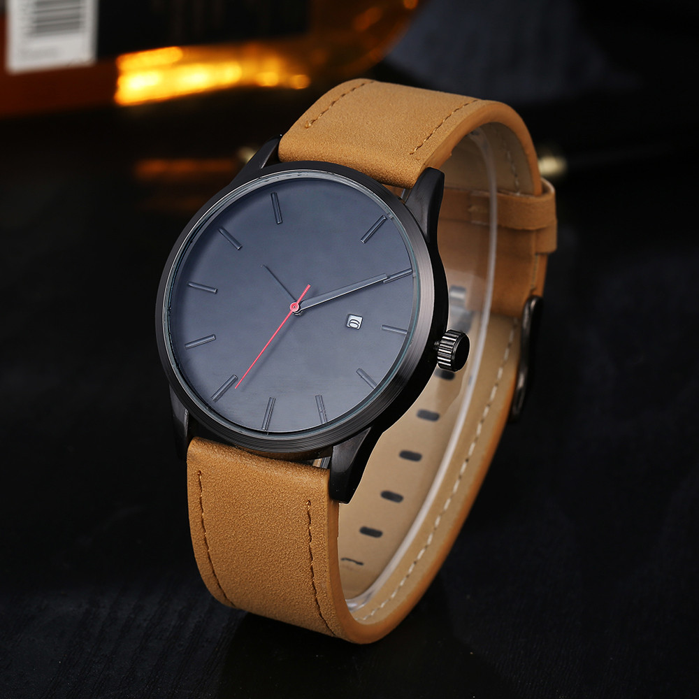 New Men Fashion Luxury Brand Quartz Watches Business Military Watches Male Leather relogio masculino 2017 relojes mujer